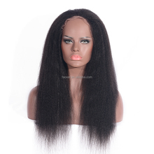 8A Peruvian Yaki Straight Full Lace Wig Human Hair Lace Front African American Yaki Wig with Baby Hair For Black Women