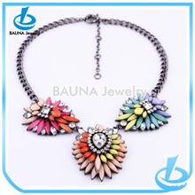 European style acrylic jewlery gun metal short chain colorful flower necklace