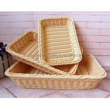 Wholesale rectangular artificial rattan bread baskets plastic rattan fruit baskets