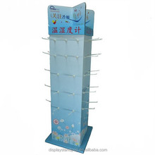 100% recyclable three sides corrugated cardboard hook display stand for phone case/ headset retailing booth with hooks