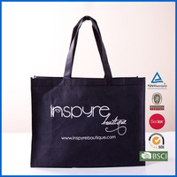 customized printed black non woven bag with gold printing,non woven reusable shopping bag