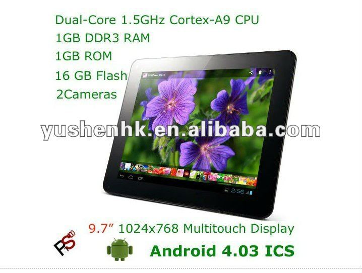 9.7 inch Tablet PC IPS Capacitive Multi Screen Android 4.0 ICS Ramos W22 Pro+1GB+16GB+Amlogic 8726-Mx Cortex A9 Dual Core 1.5GHz