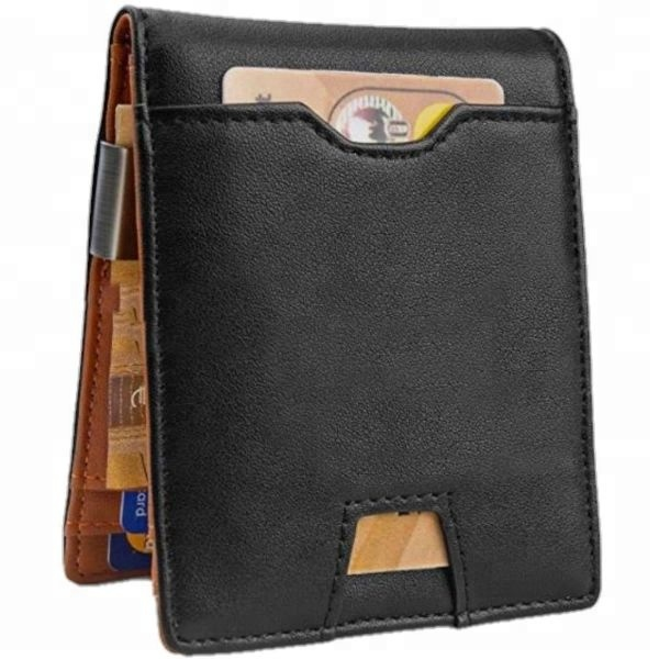 2020 HOT Christmas Gift Travel money clip RFID Genuine Leather mens <strong>Wallet</strong> Slim <strong>Wallet</strong> with coin slot