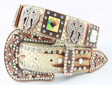 Colorful Western Rhinestone Leather Belt For Ladies