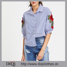 Latest styles wholesale price stylish women Blue Half Sleeve Pinstripe Rose Embroidered Appliques Top