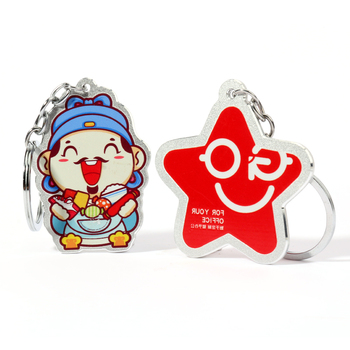 High quality VOGRACE cheap OEM logo custom  aluminum keychain,printing cartoon anime metal key rings for promotional