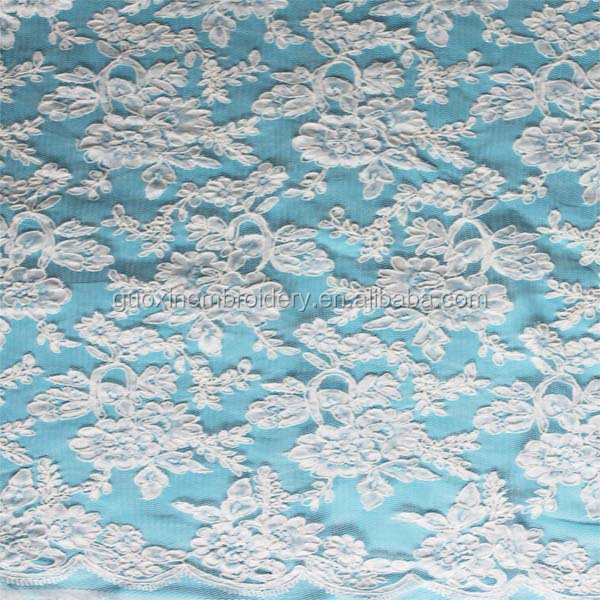 100% nylon jacquard lace fabric for bridal dress
