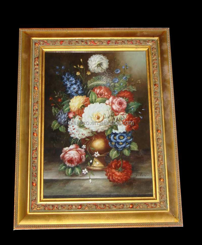 Antique Wood Carved Framed Mural, Oil Painting Ceramic Flower Framed Mural