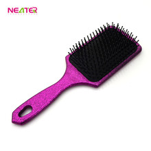 Cushion Hair brushes Plastic Bling Paddle Hair Brush with private logo