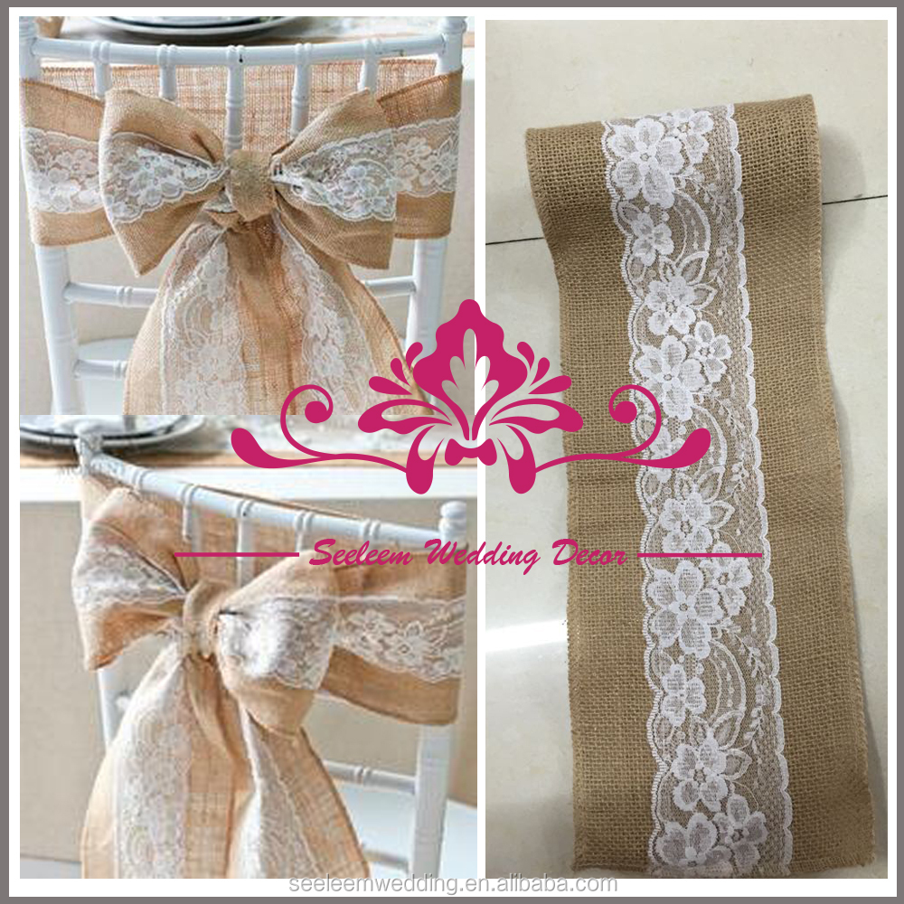SCS002 Natural Hessian Lace Burlap Chair Sash