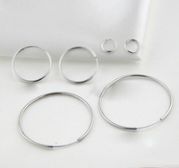 White Gold Plated Sterling Silver 15mm Endless Hoop Earrings