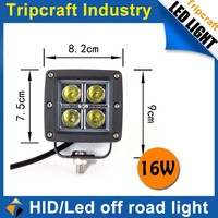 Salable goods!12PCS/LOT! 16W LED Driving Lamp Car Headlight Flood Light / Spot beam Light for Boating / Hunting / Fishing