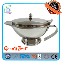 Silvery stainless steel double wall thermal Gravy Boat