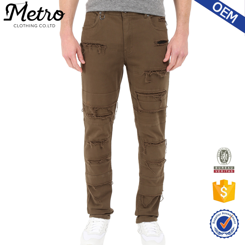 Wholesale Mens Twill Ripped Details Jogger Pants
