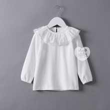 DL20082F 2017 latest girls ruffled collar white blank long sleeve cotton t shirt