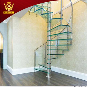 Modern Stylish Tempered Glass Steps Stainless Steel Frame Spiral Stairs Curved Staircase for Villa
