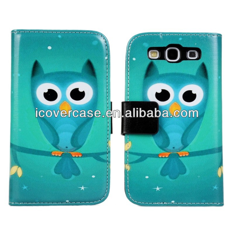 Owl wallet pu leather case With Stand for sumsung galaxy s3 i9300