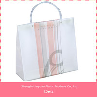 high quality pp reticule bag & waterproof WHITE cheap custom shopping plastic bag with handle