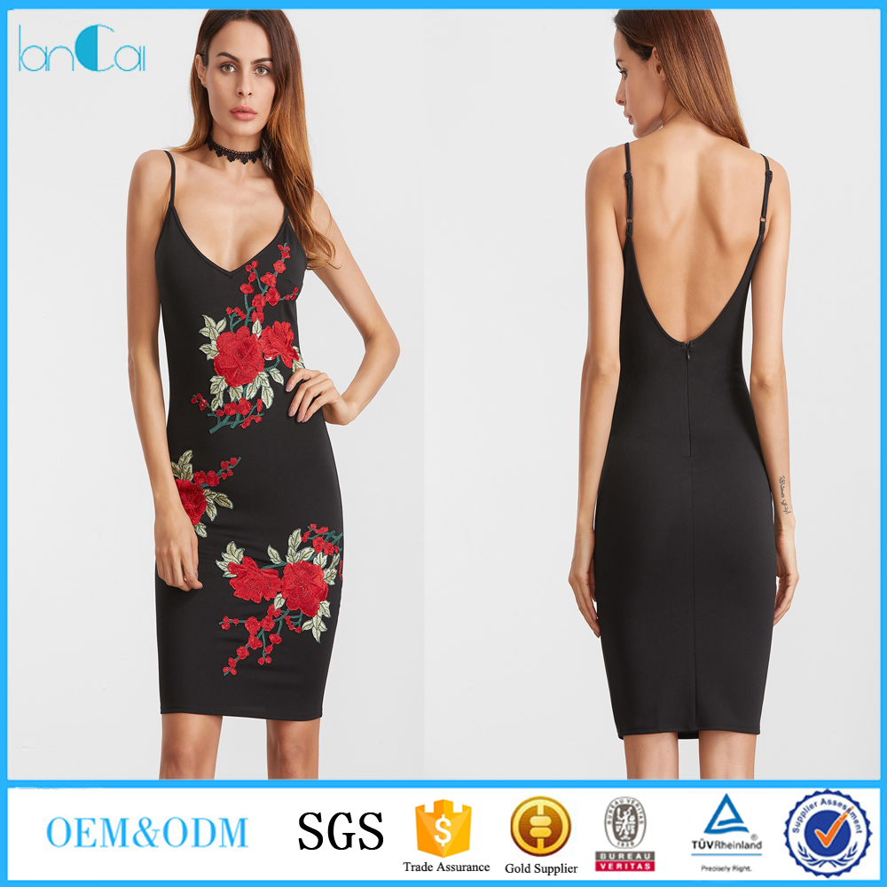 Black embroidered rose applique scoop back bodycon dress 2017 Women clothing in casual dresses