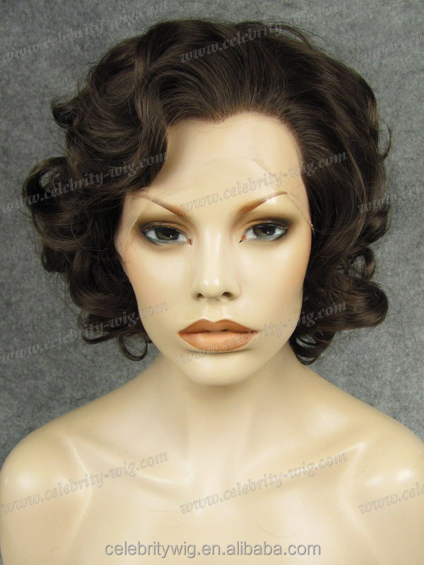 Natural brown color curly for white women synthetic wigs lace front box braid wig