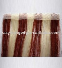 Wine-red skin weft tape Straight hair extension, stick hair