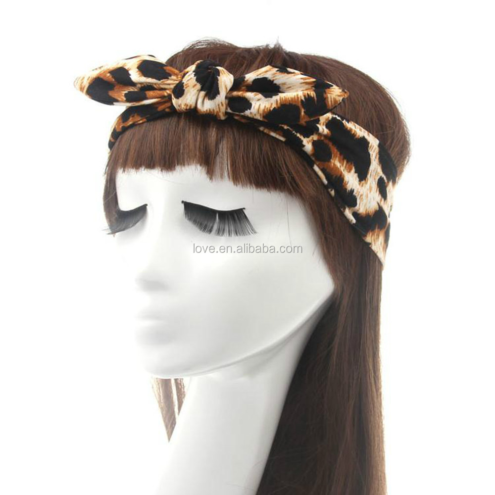 Fashion Zebra And Leopard Cotton Elastic Headband,Bow Knot Headband