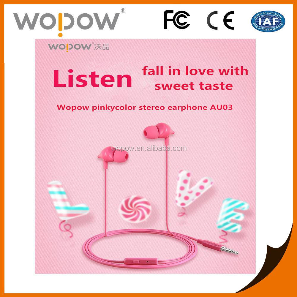 Wopow colorful mobile sport earphone and headphone, in ear earphones for iPhone