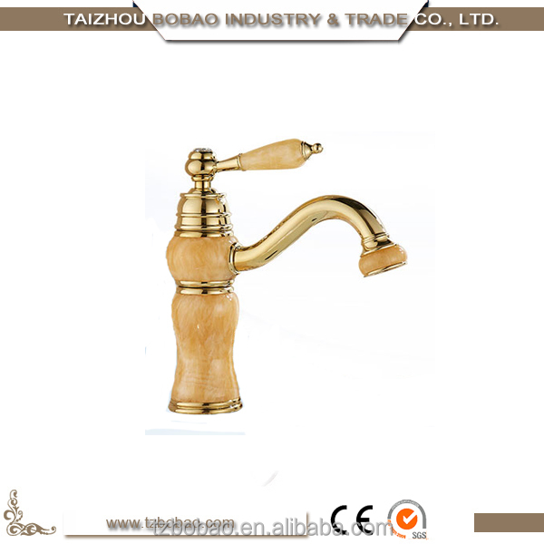 Most Popular Luxury Brass Single Lever Gold-plated Marble Bathroom Faucet Rose Gold Jade Basin Faucet Stone Faucet Mixer Tap