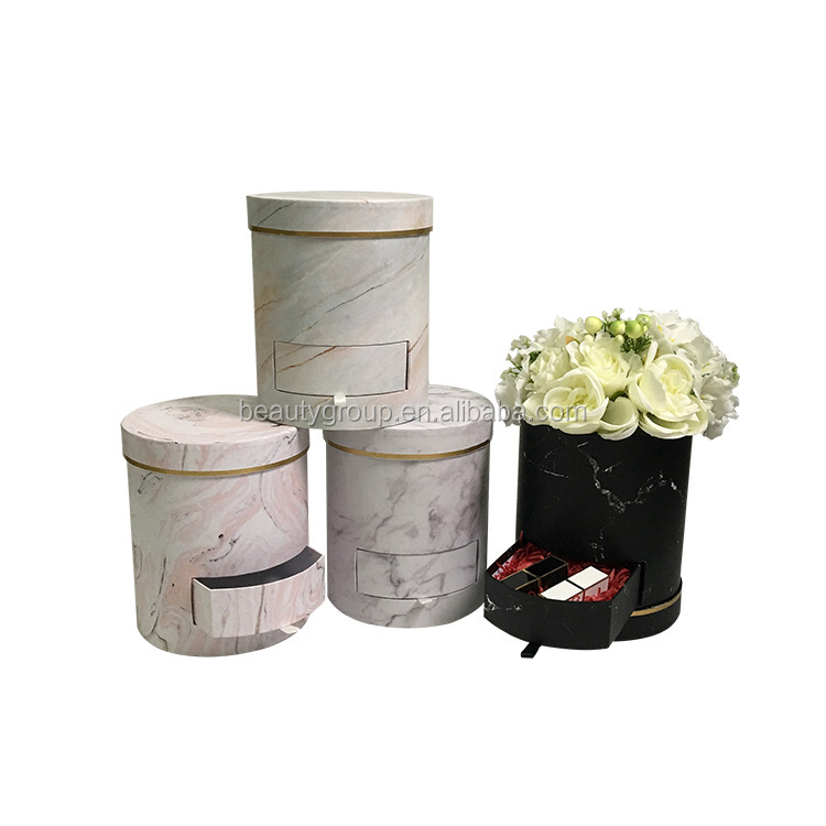 Wholesale luxury high quality round paper flower packaging box with drawer