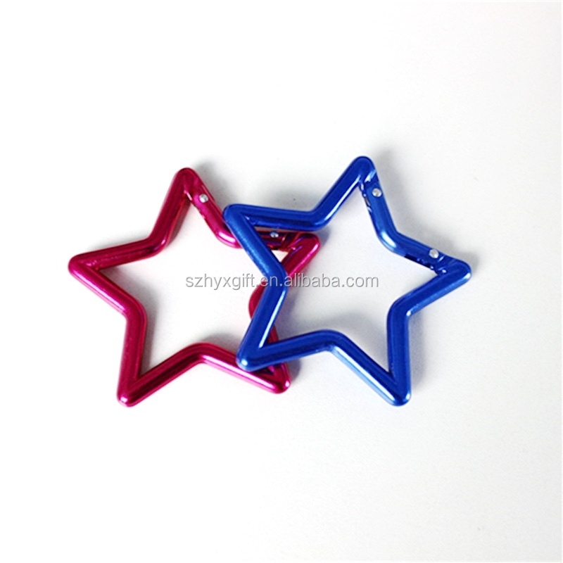promotional colorful fashion high quality five-pointed star shaped aluminum climbing carabiner