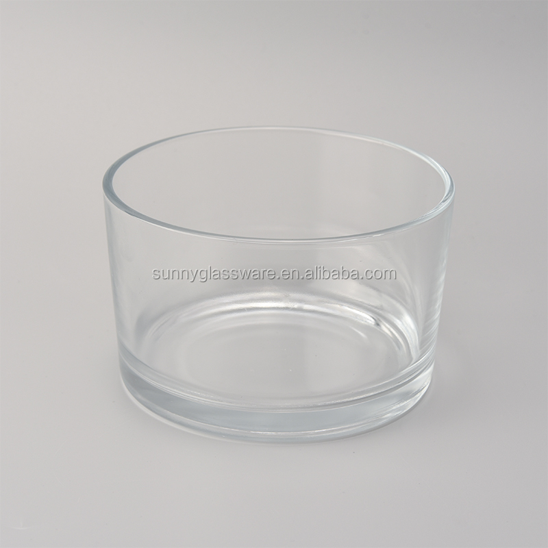 15 OZ clear glass candle containers with 3 wicks