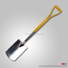 Wholesale traditional rugged stainless steel garden tool wooden handle digging spade