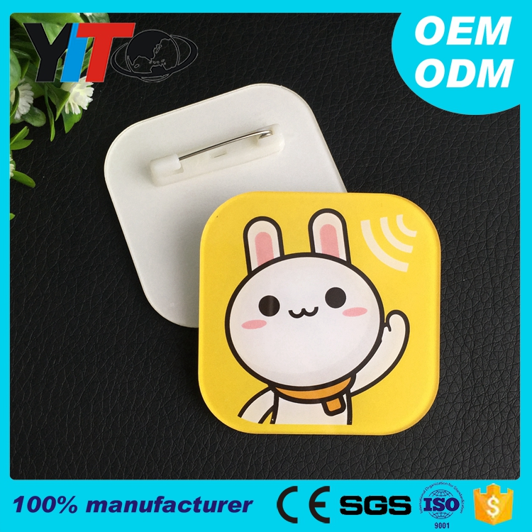 wholesale custom badge LOGO any shape plastic name badge holder tag acrylic double plate pin name square badge