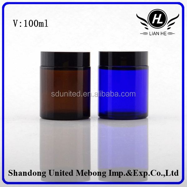 100ml high quality cylinder cobalt blue/ amber cosmetic glass jar for facial mask , cosmetic glass container