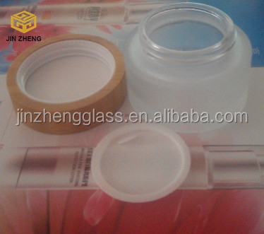 50ml matte glass jars with bamboo caps for cream, makeup, cosmetics