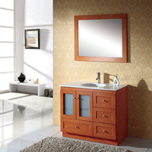 Burlywood Free Standing Single Sink Bathroom Vanities Cabinets
