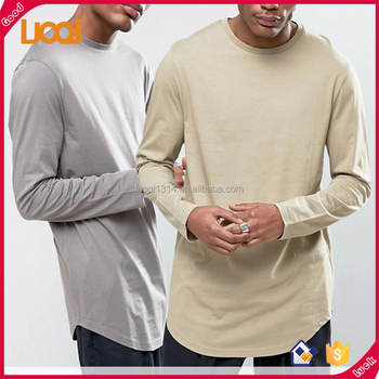Comfortable Longline Cotton Long Sleeves Extended T shirt Wholesale