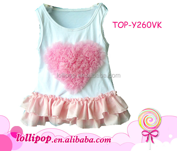2016 Hot sale USA princess girl baby tank tops latest blouse designs print pink tulle rose heart girl singlet for Valentines day