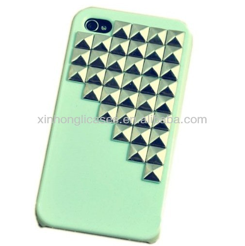 Fashion Punk Spikes and Studs Mobile Phone Case for iPhone 4 4s Cover with Pyramid Rivet