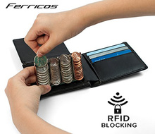 Rfid Blocking Men's Leather Wallet Custom Coin Purse Slim Coin Sorter Wallet Purse