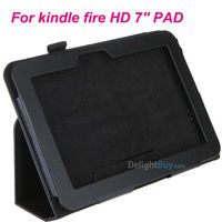 "Wholesale For Amazon Kindle Fire HD 7"" Tablet PC PU Leather Flip Case Skin Cover with Stand Black/Blue/Red/Rose/Purpele"