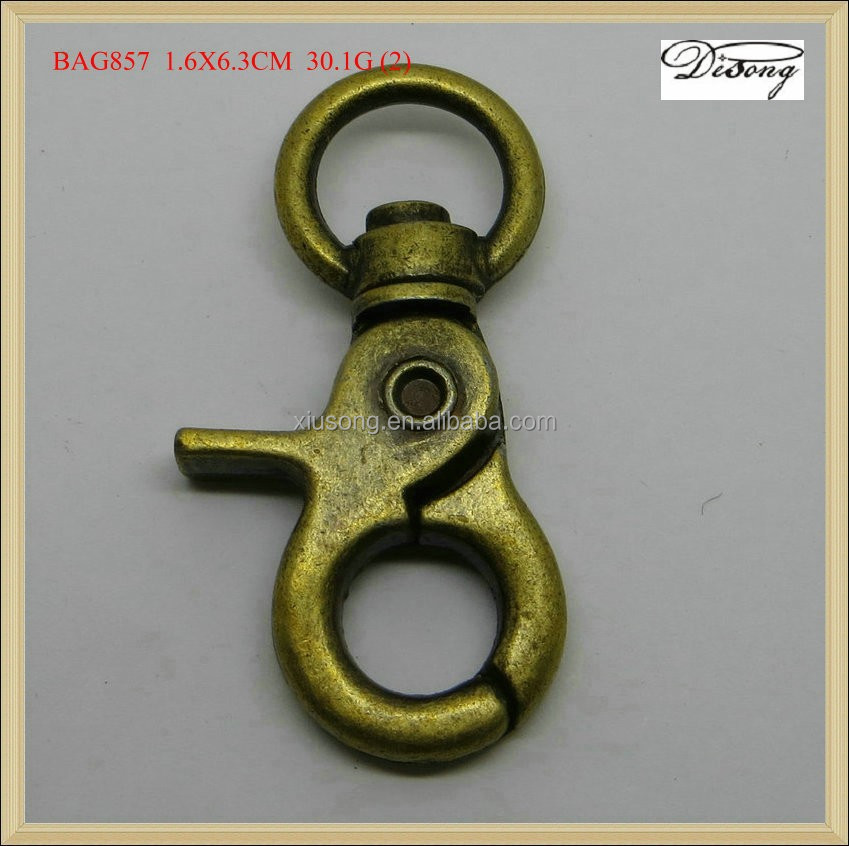 BAG857 dog leash snap hook key ring, solid brass snap hook, metal customized snap hook