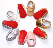 2016 new designs red bottom shoes baby moccasins pu leather soft sole wholesale baby shoes