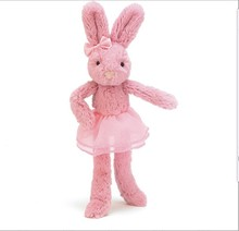 Cute Plush Standing Colorful Bunny with Skirt /Soft Lovely bunny 23cm Tall/Stuffed Customized Toy Rabbit with Bowknot