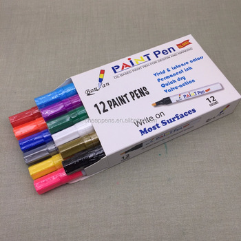 12 colors diy Aluminum barrel oil based High Quality paint marker pen set for stone, wood,leaf painting