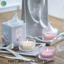 clear glass embossed candle holders