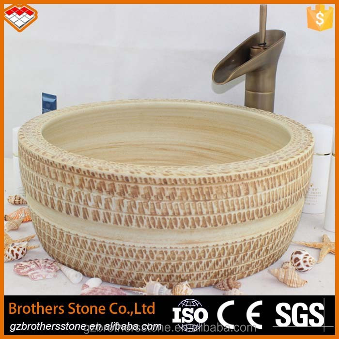 antique style art ceramic sink basins type beige color wash basin price in guangzhou