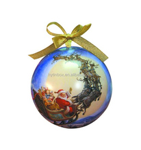 Large size Dia140 Dia130 Dia120 ball shape tin box tinplate bauble with ribbon for Christmas holiday