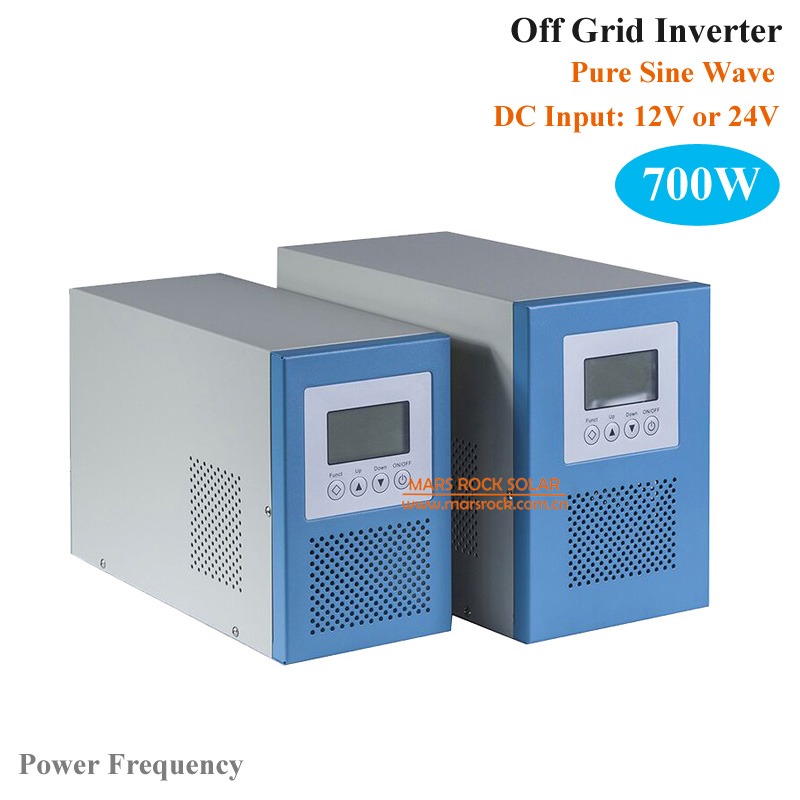 Power Frequency 700W 12V or 24V <strong>DC</strong> to AC 110V or 220V Pure Sine Wave Off Grid Inverter with City Grid Charge Function