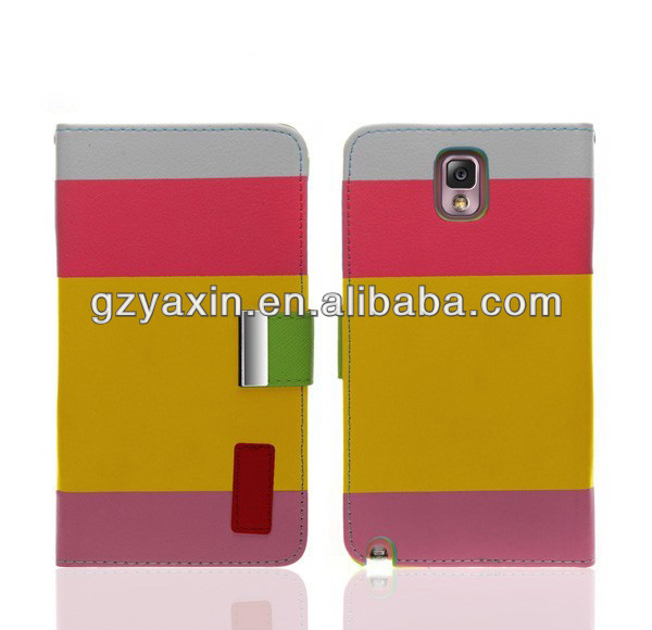 Cheap Wholesale Mobile Pouch For Samsung galaxy Note 3 Stripe Leather Wallet Case